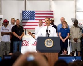 President Obama promotes his jobs program at a manufacturing plant in Maryland