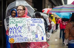 Chicago teachers, parents and students protest drastic cuts to the school budget
