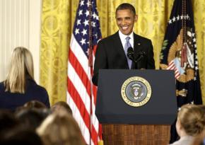 President Obama gives a press conference in the East Room