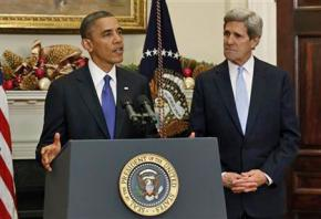 Barack Obama and John Kerry answer reporters' questions