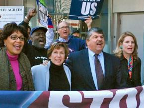 AFL-CIO President Richard Trumka marching alongside other labor leaders