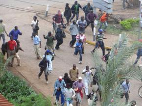 People fleeing the attack on Westgate Mall in Nairobi, Kenya