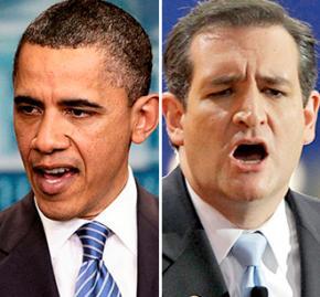 Barack Obama and Ted Cruz