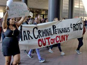 Students march against David Petraeus and the militarization of CUNY