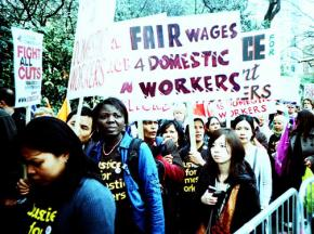 Domestic workers marching for fair wages and against painful budget cuts