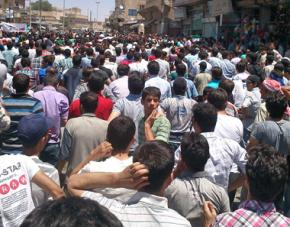 Protests in the Syrian town of Manbij