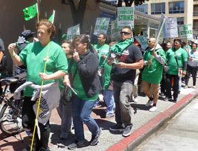 AFSCME health care workers at UCSF walk the picket line