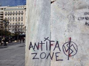 An anti-fascist tag in Syntagma Square in the center of Athens