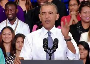 President Obama speaks at a press event celebrating the Affordable Care Act
