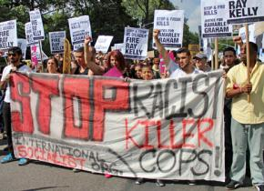 """ISO members march against police violence and the NYPD's """"stop-and-frisk"""" policy"""
