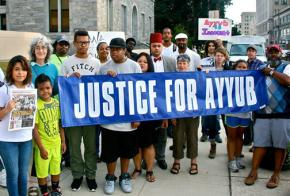 Supporters of Ayyub Abdul-Alim gather for a rally before a court date