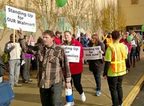 Picketing outside a Walmart store in Federal Way