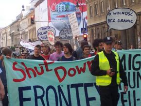 Immigrant rights activists march against Frontex