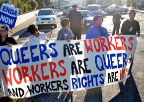Supporters rally for passage of the Employment Non-Discrimination Act