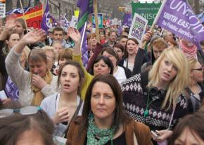Member the UK union Unison march against budget cuts