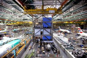Inside the Boeing factory in Everett, Wash.