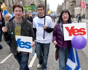 A rally in Edinburgh in favor of independence for Scotland