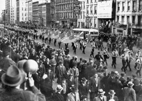 U.S. fascists in the German American Bund parading through New York City in 1939