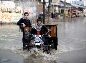The flooded streets in Gaza City