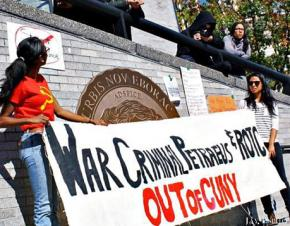 Activists rally against David Petraeus and ROTC on the CCNY campus