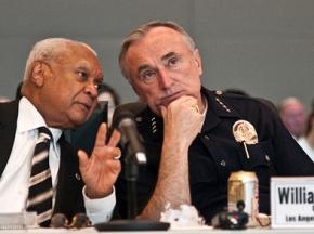 William Bratton (right) when he was chief of police in Los Angeles