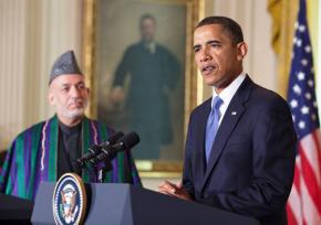 President Obama speaks to press alongside Afghan President Hamid Karzai