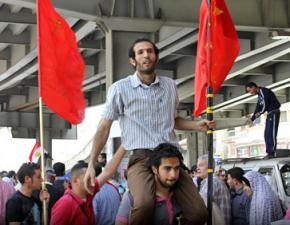 Haitham Mohamedain at the head of a demonstration in Cairo