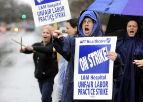 Nurses picket outside Lawrence and Memorial Hospital