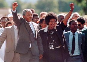 Nelson Mandela walks out of prison