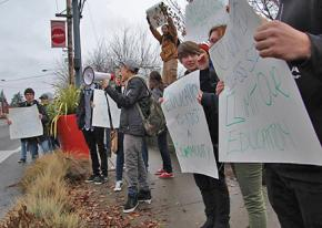 Students from Wilson High School picket outside their school in support of teachers