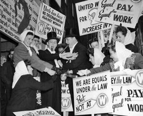 UE members demand equal pay for women during a 1946 strike against Westinghouse in Pittsburgh