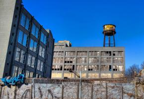 A decaying industrial building about to be turned into luxury housing in Brooklyn