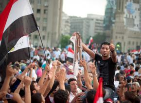 Protesters flooding Cairo's Tahrir Square in July 2011