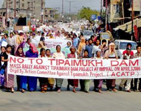Indian women lead a demonstration against the Tipaimukh Dam in Manipur