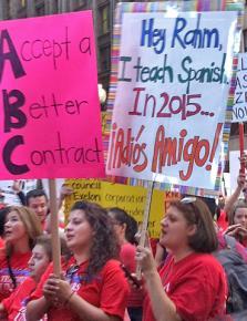 Chicago Teachers Union members during their strike against Rahm Emanuel's assault on public schools