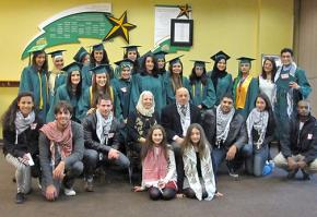 Participants in the walkout against Israeli apartheid at George Mason University