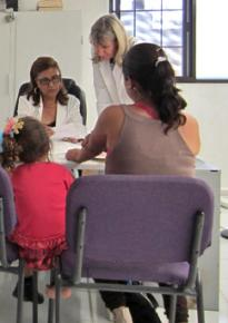 Patients at a women and families health clinic