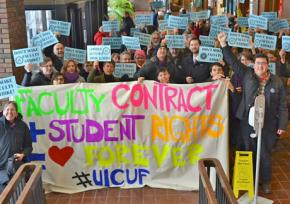 UIC faculty rally with student supporters outside a Board of Trustees meeting