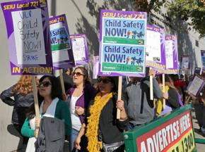 Los Angeles County social workers walk the picket line