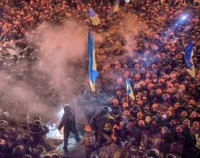 Protesters clashing with police in Kiev during the final days of the Yanukovych regime