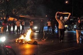 Right-wing protesters blockading a road in Caracas