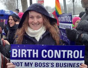 Defending birth control outside the Supreme Court as the justices heard arguments in the Hobby Lobby case