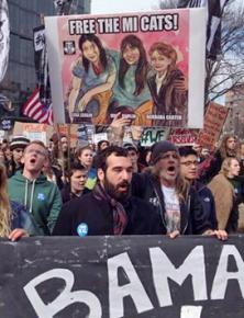 Environmental protesters in Washington, D.C., demand justice for the Enbridge 3