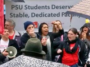 Faculty and student supporters rally for a fair contract at Portland State University
