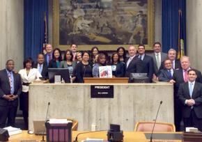 Boston City Council members and domestic workers celebrate