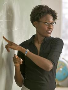 A teacher at the blackboard