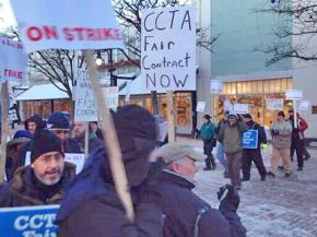 CCTA bus drivers on the picket line as their strike begins