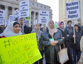 Activists protest the NYPD's surveillance program directed against Muslims