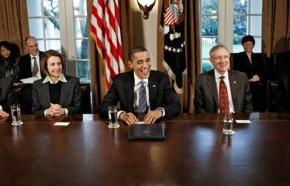 President Obama with leading Democrats Nancy Pelosi and Harry Reid