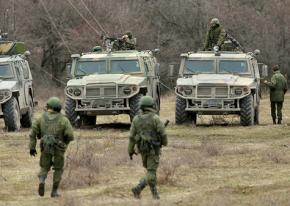 Russian troops on the ground during the takeover of Crimea in Ukraine
